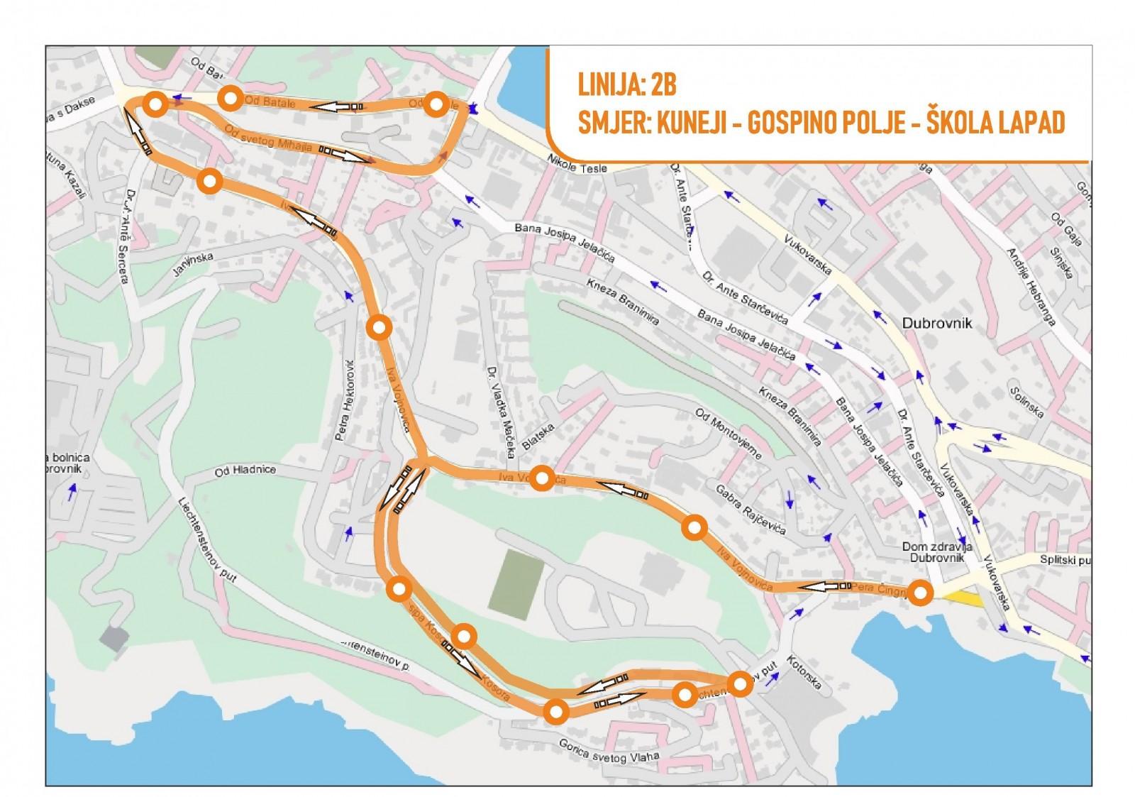 Od ponedjeljka promjena trasa autobusnih linija 2B i 2A