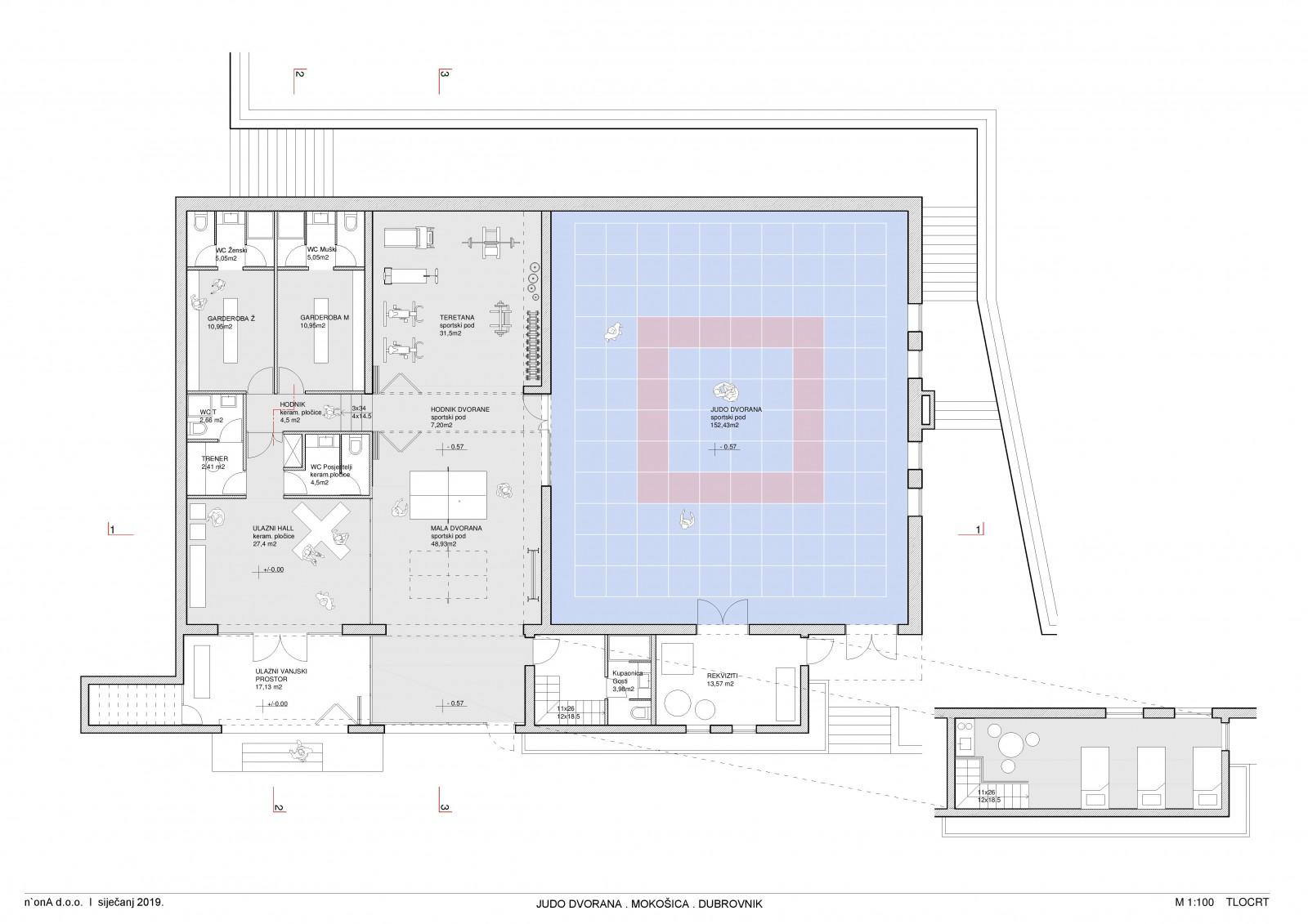 Izrađen glavni arhitektonski projekt adaptacije judo dvorane u Mokošici