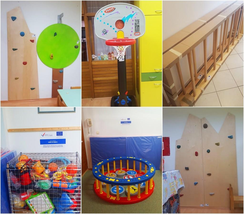"""U sklopu Europskog projekta """"Grad ZA djecu"""" nabavljena sportska oprema za vrtiće Pile, Ciciban i Palčica vrijedna 220 tisuća kuna"""