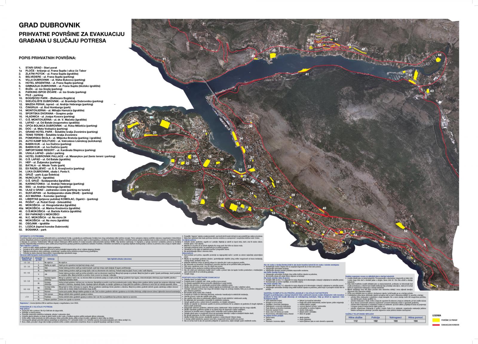prihvatne površine za evakuaciju grada dubrovnika