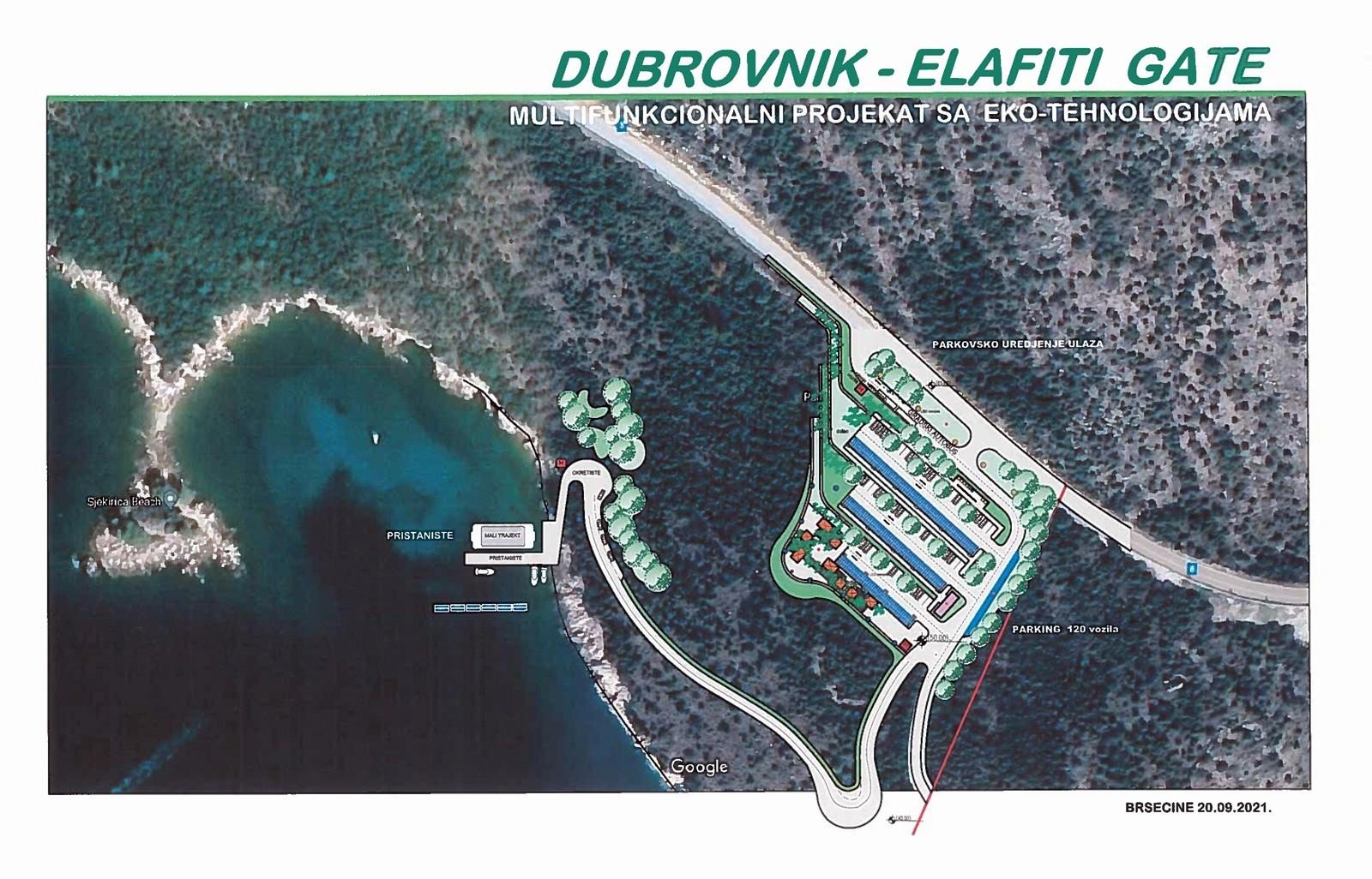 U Brsečinama se razvija ekološki održivi projekt Dubrovnik-Elafiti Gate; uključuje parkiralište s pristaništem i brodskom vezom za Lopud i Šipan