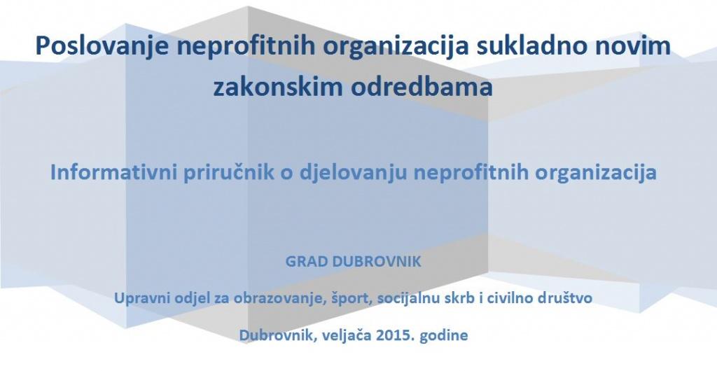 Izrađen informativni priručnik o djelovanju neprofitnih organizacija