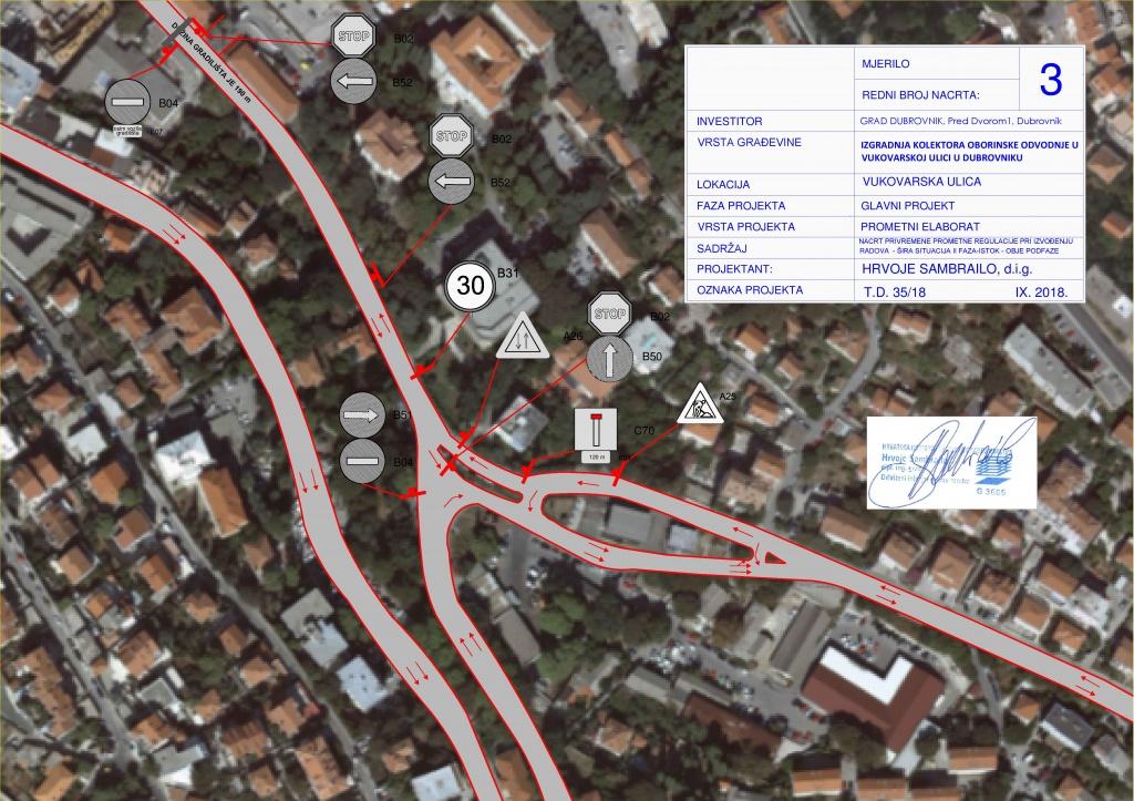 Nova obavijest o regulaciji prometa u Vukovarskoj, zatvara se dio ulice kod Mercante centra, dvosmjerno od INA-e do skretanja za Mercante