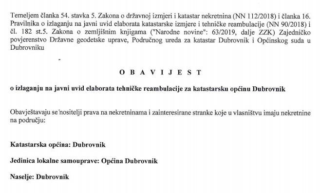 Obavijest o izlaganju na javni uvid elaborata tehničke reambulacije za katastarsku općinu Dubrovnik
